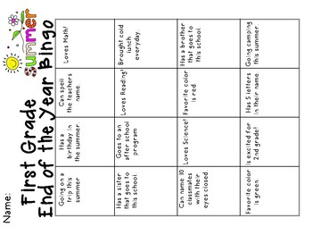 End of the Year First Grade Bingo