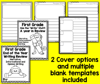 End of the Year First Grade Writing Review Memory Book