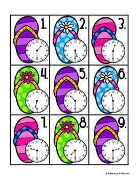 End of the Year: Flip Flop Telling Time Match (Time to the Half Hour)