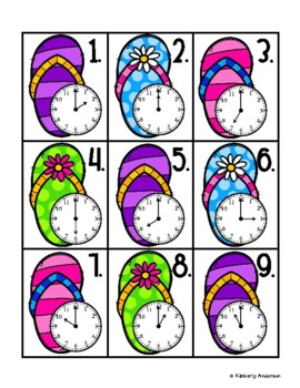 End of the Year: Flip Flop Telling Time Match (Time to the Hour)