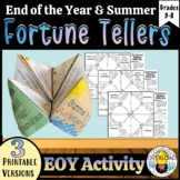 End of the Year Fortune Tellers: Three printable templates, summer activity