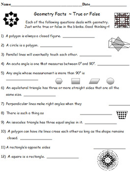 End of the Year Fraction Fun Facts PLUS Geometry Facts True or False (Both Sets)