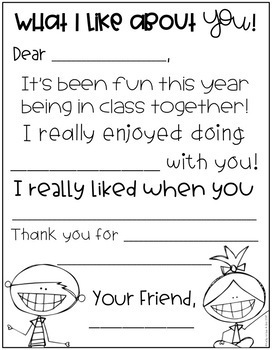 End of the Year Friend Letters