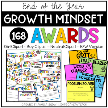 168 End of the Year GROWTH MINDSET Awards {EDITABLE}