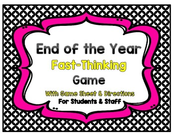 End of the Year Game: Scattergories  {Great for Students and Staff}