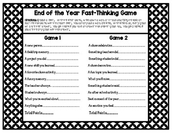 End of the Year Game {Great for Students and Staff}