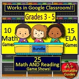 25 Math & Reading ELA Test Prep Game Shows Jeopardy Style End of the Year Games
