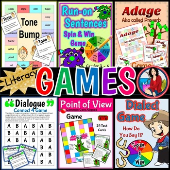 Literacy Game Pack Common Core Aligned Bundle