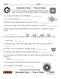 End of the Year Geometry Facts True or False