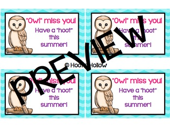 End of the Year Gift: Owl Miss You Gift Tags
