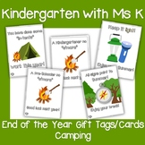 End of the Year Gift Tags/Gift Cards: Camping Theme