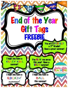 End of the Year Gift Tags with Gift Ideas FREEBIE