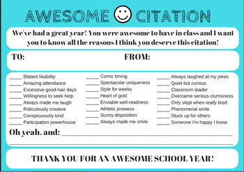 End of the Year Gifts - Awesome Citation