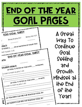 End of the Year Goal Sheets