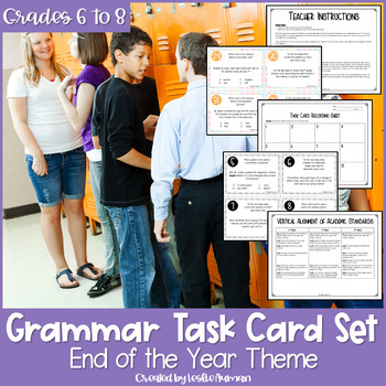 End of the Year Grammar Task Cards