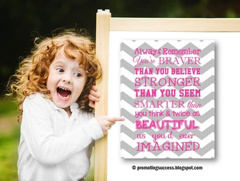 Inspirational Quote for Kids Pink and Gray Chevron Classroom Decor Poster