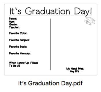 End of the Year Handprint - Kindergarten Graduation Hand Print