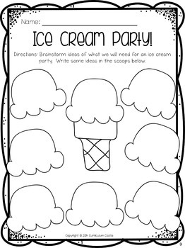 End of the Year Ice Cream Activity!
