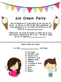End of the Year Ice Cream Party Parent Letter