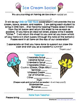 End of the Year Ice Cream Social Party Note