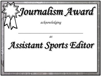 End of the Year Journalism Award Certificates (Semi-Editable)