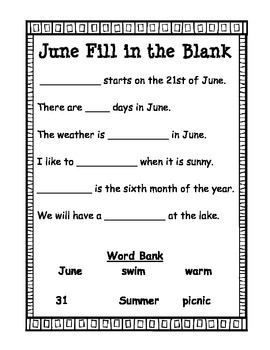 End of the Year: June Fill in the Blank