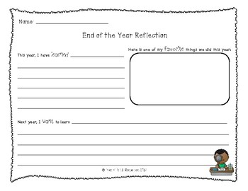 Elementary End of the Year Writing Reflection - FREEBIE!