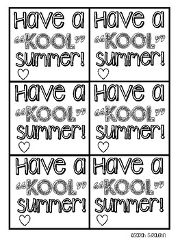 """End of the Year """"KOOL"""" Summer gift tags"""