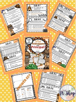 Kidnapped Principal C.S.I. Math Review {BEGINNING/END OF THE YEAR} NO PREP