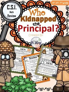 Kidnapped Principal C.S.I. Math {Back to School REVIEWl} [NO PREP]