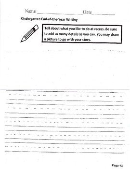 End of the Year Kindergarten Assessment