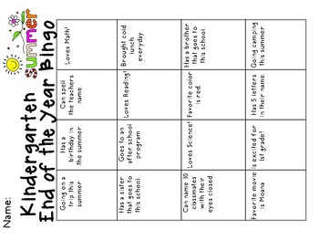 End of the Year Kindergarten Bingo