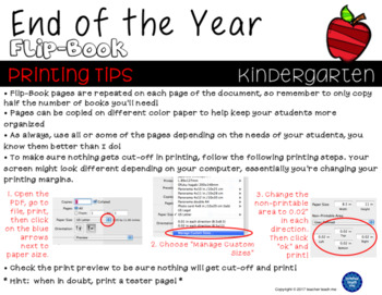 End of the Year – Kindergarten - Flip-Book