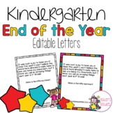 End of the Year Kindergarten Letters from Teacher to Student