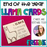 End of the Year LLAMA Card FREEBIE