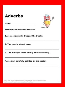 End of Year Adverbs Task Cards and Worksheets