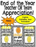 End of the Year Lemon & Orange Teacher or Team Appreciation: Editable