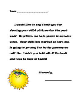 End of the Year Letter