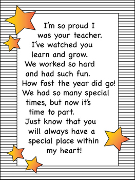 End of the Year Letter from Teacher to Student