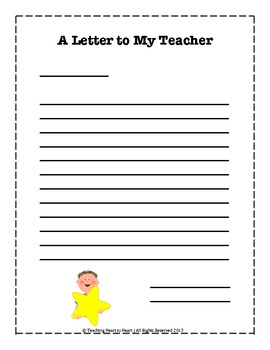 End of the Year Letter to My Teacher Activity