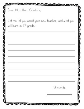 End of the Year Letter to Next Year Students Grades 1-5