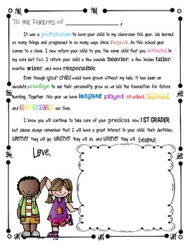 End of the Year Letter to Parents