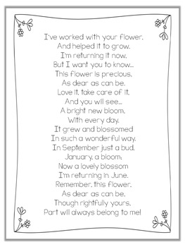 End of the Year Letter/Poem to Parents {Freebie}