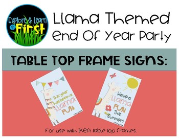 End of the Year Llama Party Table Signs