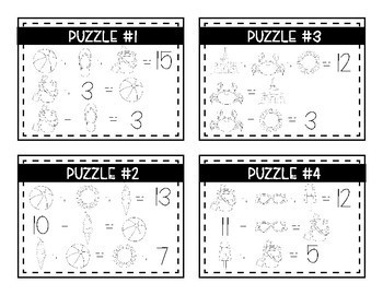 End of the Year Math Logic Puzzles- Addition and Subtraction
