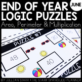 End of the Year Math Logic Puzzles- Area, Perimeter and Mu