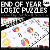 End of the Year Math Logic Puzzles- Double Digit Addition
