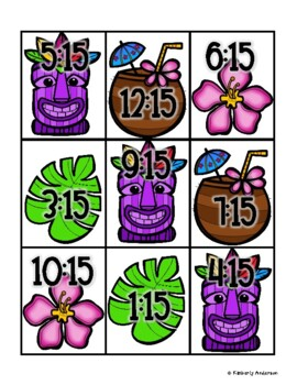 End of the Year: Luau Telling Time Match (Quarter Past/After)