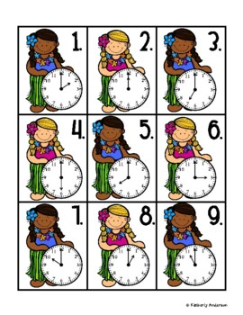 End of the Year: Luau Telling Time Match (Time to the Hour)