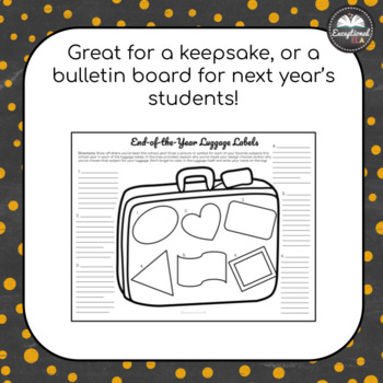 End of the Year Luggage Labels: For Secondary Students!